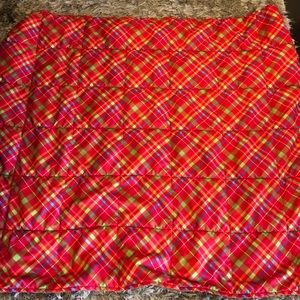 Faux feather blanket. Red, green and blue checkers